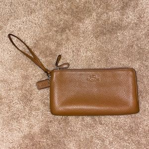 Brown leather Coach long wallet